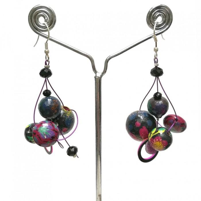 Twist Plum earrings - 4 cm - Winter nights