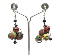 Earrings Twist Green/red earrings - 4 cm - Winter nights Babachic by Moodywood