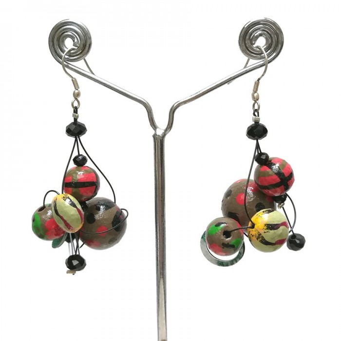Pendientes rojo/verde Twist - 4 cm - Winter nights
