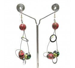 Sequin earrings green/red - 6,5 cm - Winter nights