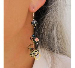Earrings Sequin earrings black/beige - 6,5 cm - Winter nights Babachic by Moodywood