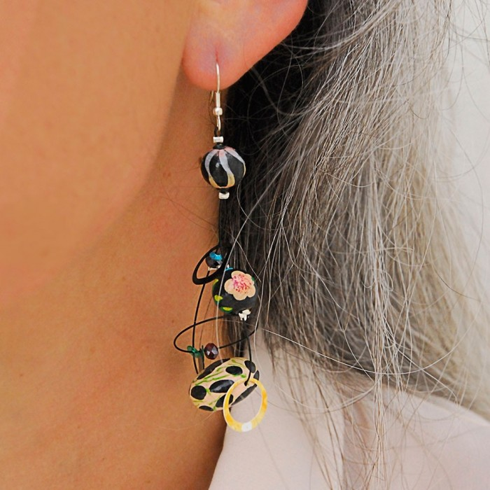 Boucles d'oreilles Boucles Sequin beige/noir - 6,5 cm - Winter nights Babachic by Moodywood