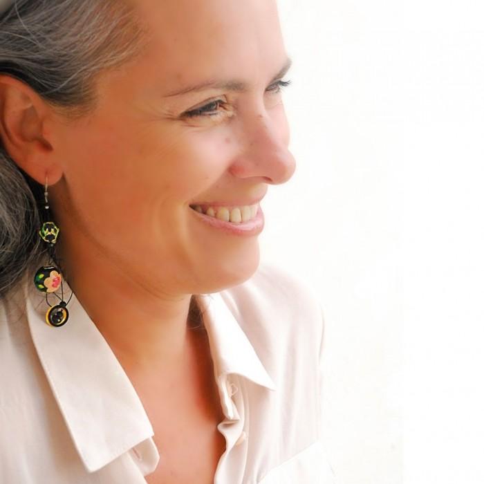 Abis earrings black/beige - 7 cm - Winter nights