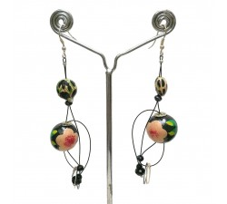 Pendientes Abis beige/negro - 7 cm - Winter nights