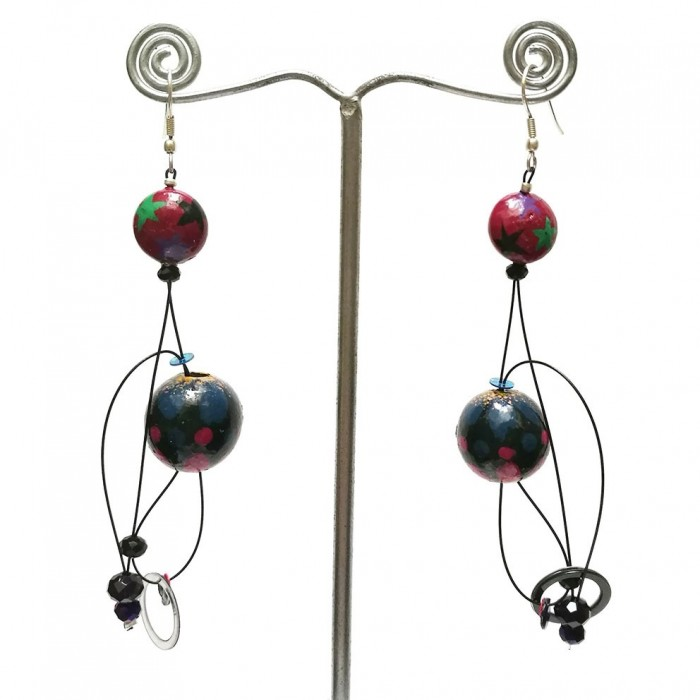 Boucles Abis prune - 7 cm - Winter nights