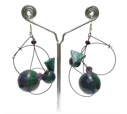 Boucles d'oreilles Boucles Satellites prune - 5,5 cm - Winter Night Babachic by Moodywood