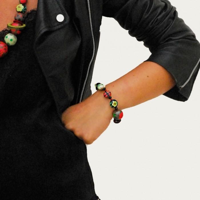 Elastic bracelet green/red - Winter Nights