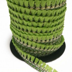 Fringe Tassels ribbon light green and golden - 15 mm