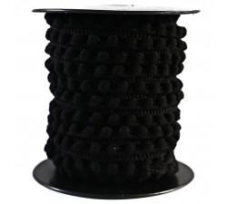 Los minis Gálon de mini pompones - Negro - 10 mm babachic
