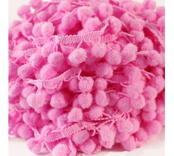 Les moyens Galon Pompons - Rose 4 - 25 mm babachic