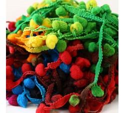 Los medianos Galón Pompones - Multicolores - 25 mm babachic