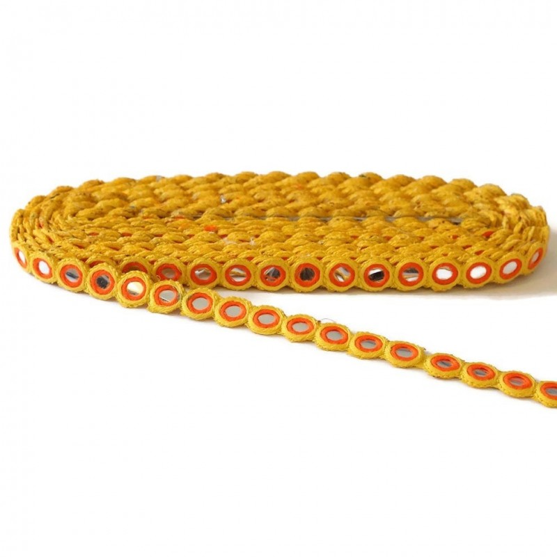 Galón ojal - Espejos - Amarillo y naranja - 15 mm