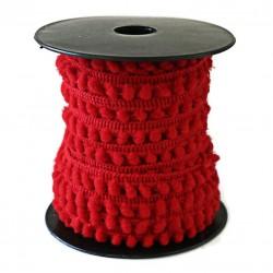 Les minis Galon de mini pompons - Rouge - 10 mm babachic