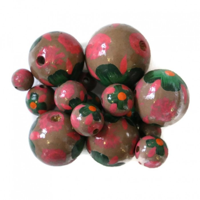Wooden beads - Hibiscus -  Pink and brown
