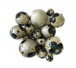 Abalorios Cuentas de madera - Hibiscus - Plateado y negro