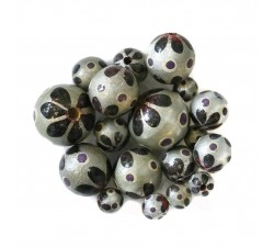Flowers Wooden beads - Circus - Silver and black Babachic by Moodywood