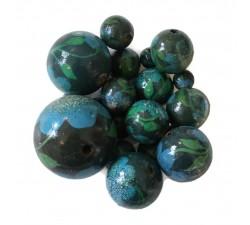 Perles en bois Perle en bois - Peltée - Vert et bleu