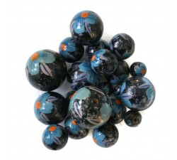 Flowers Wooden beads - Hibiscus - Blue and black Babachic by Moodywood