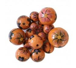 Flowers Wooden beads - Dalia - Orange and black Babachic by Moodywood