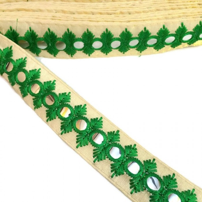 Embroidered mirors ribbon - Green - 30 mm