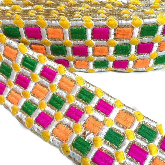 Embroidered braid - Mosaic - Pink, green, orange, white and yellow - 65 mm