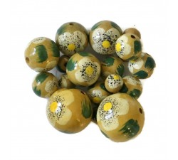 Flowers Wooden beads - Hibiscus - Beige Babachic by Moodywood