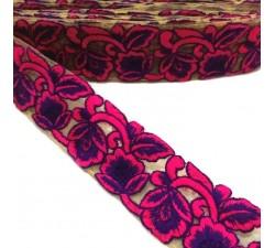 Broderies Tulle brodée - Rose et violet - 45 mm