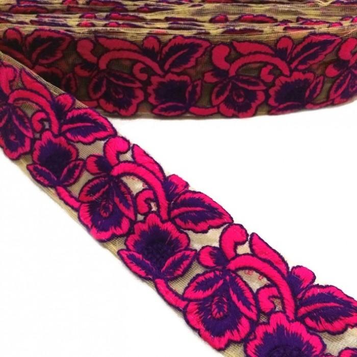 Tulle brodée - Rose et violet - 45 mm