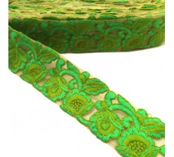 Embroidery Embroidered tulle - Flowers lace - Green - 45 mm