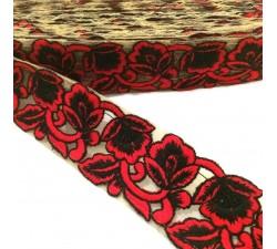Tulle brodée - Rouge et noir - 45 mm