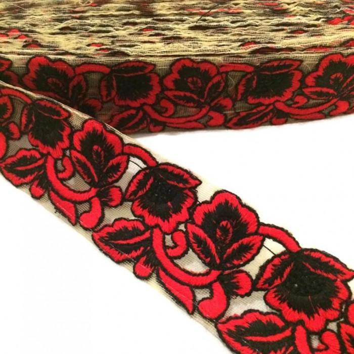Tul bordado - Rojo y negro - 45 mm