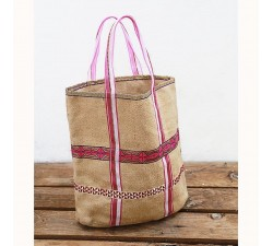 Tote bags Jute bag with ribbons - Pink