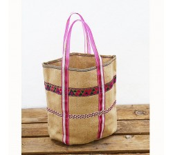 Jute bag with ribbons - Pink