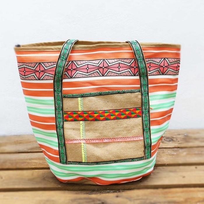 Big bag - Nylon and jute - Orange