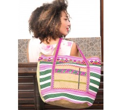 Tote bags Big bag - Nylon and jute - Green Babachic by Moodywood