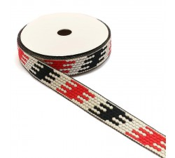 Ribbons Graphic ribbon - Puzzle - Black, white and red - 20 mm babachic