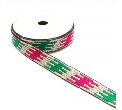 Ribbons Graphic ribbon - Puzzle - Green, white and pink - 20 mm babachic