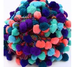 Pompones Galón Pompones XL - Multicolor azul - 45 mm babachic