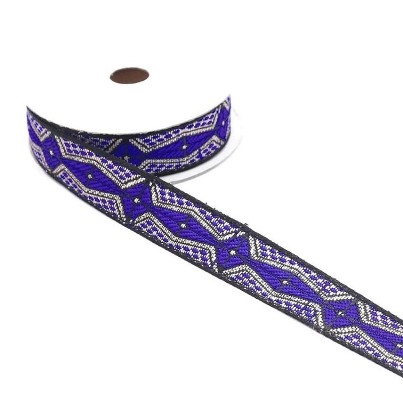 Ruban graphique - Aztèque - Bleu, noir et argenté - 20 mm