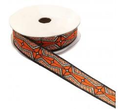 Cintas Cinta gráfica - Azteca - Naranja, negro y plateado - 20 mm babachic