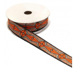 Rubaneries Ruban graphique - Aztèque - Orange, noir et argenté - 20 mm