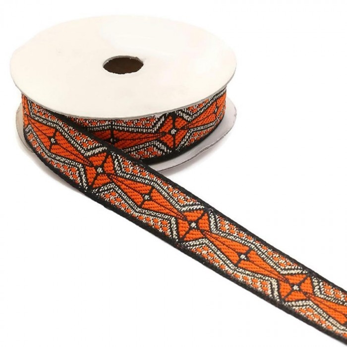 Graphic ribbon - Aztec - Orange, black and silver - 20 mm