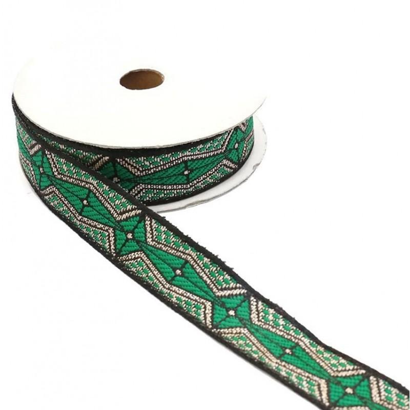 Ruban graphique - Aztèque - Vert, noir et argenté - 20 mm