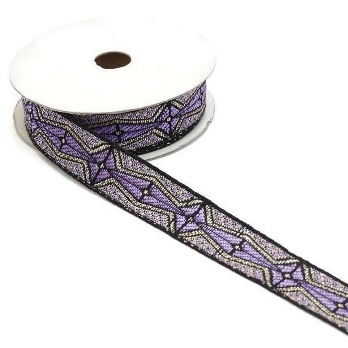 Graphic ribbon - Aztec - Light purple, black and silver - 20 mm