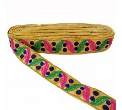 Bordado Cinta bordada de hojas y pequeños círculos rellenos - Verde, rosa y azul marino - 35 mm