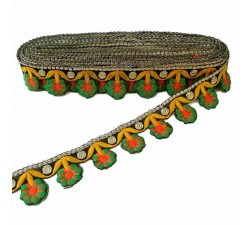 Embroidery Embroidered flower bangs - Green, orange and yellow - 35 mm