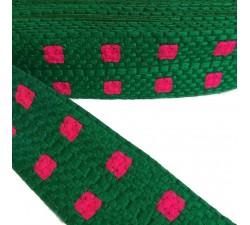 Bordado Bordado gráfico - Cuadrado - Verde y rosa - 65 mm babachic