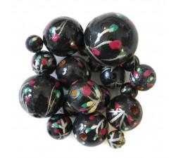 Perle en bois - Grimpante - Noir et rose