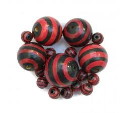 Perle en bois - Rayures - Noir et rouge