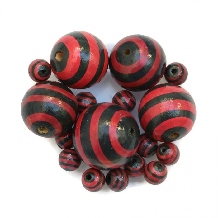 Wooden beads - Stipes - Black and red